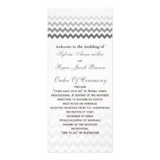 Mod chevron gray  Ombre Wedding program Personalized Rack Card