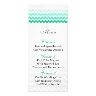 Mod chevron mint green Ombre wedding menu cards 10 Cm X 23 Cm Rack Card