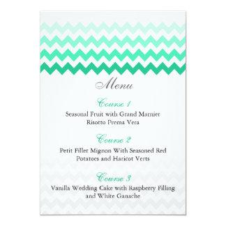 Mod chevron mint green Ombre wedding menu cards 13 Cm X 18 Cm Invitation Card