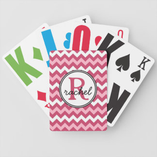 Mod Chevron Monogram Hot Pink Poker Deck