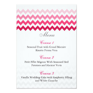 Mod chevron Pink Ombre wedding menu cards 13 Cm X 18 Cm Invitation Card