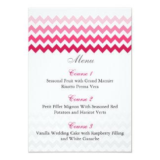 Mod chevron Pink Ombre wedding menu cards 13 Cm X 18 Cm Invitation Card