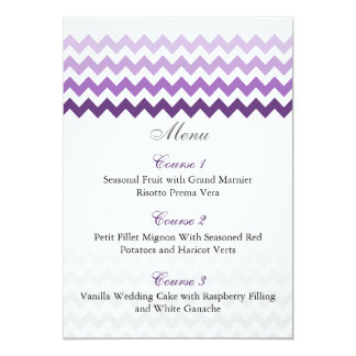 Mod chevron purple Ombre wedding menu cards 13 Cm X 18 Cm Invitation Card