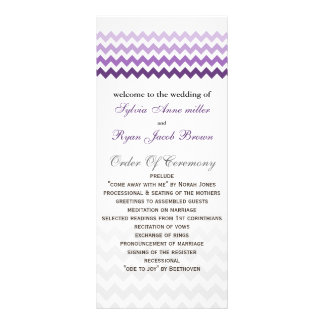 Mod chevron purple Ombre Wedding program Rack Card