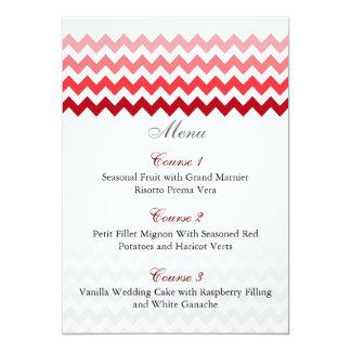 Mod chevron red Ombre wedding menu cards 13 Cm X 18 Cm Invitation Card
