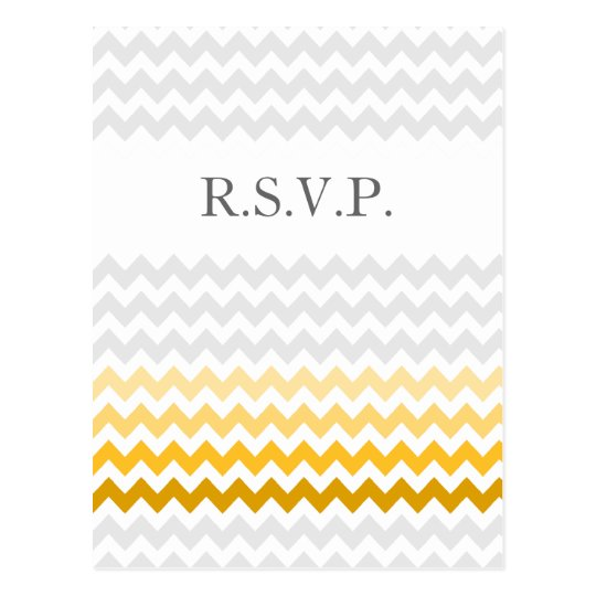 Mod chevron yellow and grey  Ombre wedding rsvp Postcard