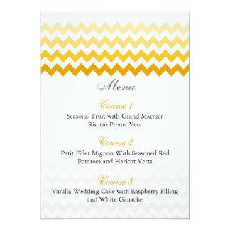 Mod chevron yellow Ombre wedding menu cards 13 Cm X 18 Cm Invitation Card