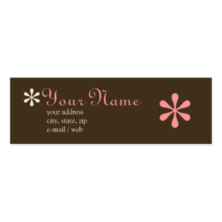 Mod Chocolate & Pink Calling Card Pack Of Skinny Business Cards
