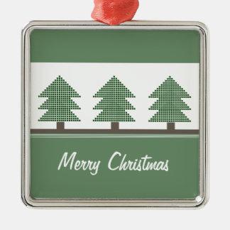 Mod Christmas Trees Premium Square Ornament