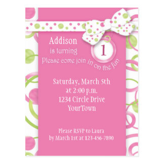 Mod Circles Girl s 1st Birthday Postcard Invitatio