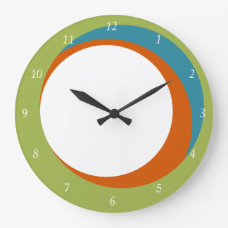 Mod Circles Wall Clock Green, Orange and Aqua