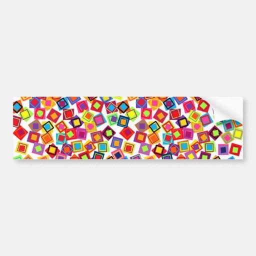 Mod Colorful Confetti Squares Bumper Sticker