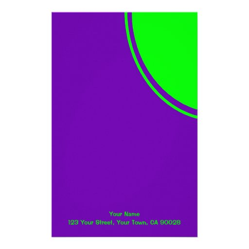 Mod colorful green purple stationery design