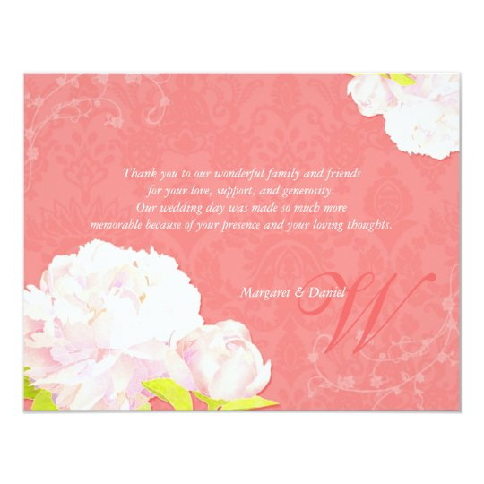 Mod Coral Reef Peony Wedding Thank You Card