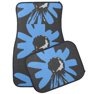 Mod daisy blue and black car mat sets
