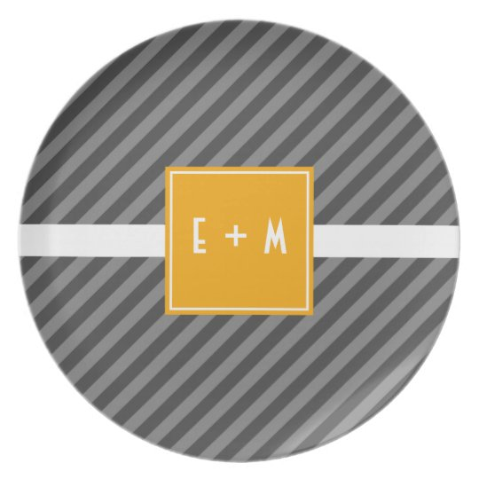 Mod Diagonal Stripe Grey and Orange Melamine Plate