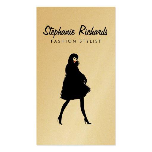 Mod Fashion Stylist, Boutique Gold Business Card