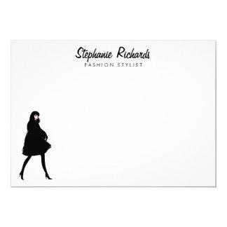 Mod Fashion Stylist Personalized Flat Notecard 13 Cm X 18 Cm Invitation Card