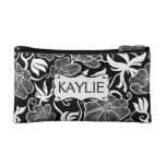 Mod  Floral in Black and White Personalised Cosmetics Bags