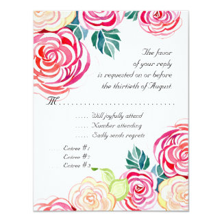 Mod Floral Roses Modern Art Flower Weddings 11 Cm X 14 Cm Invitation Card