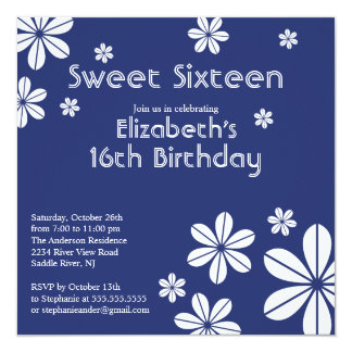 Mod Flowers Sweet Sixteen Birthday Invitation