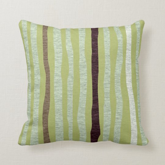 Mod Forest Abstract Tree Trunks Green Throw Pillow