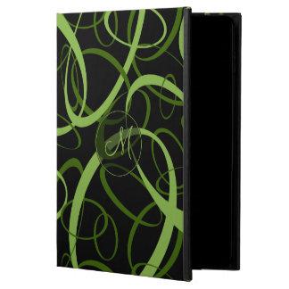 Mod geometric pattern monogrammed green on black powis iPad air 2 case
