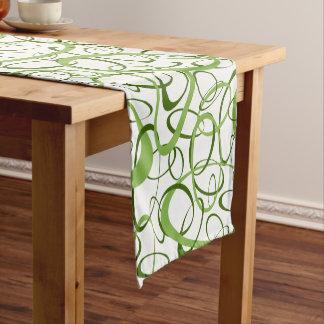 Mod geometric pattern spring green on white short table runner