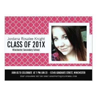 Mod Girl Graduation Photo Hot Pink 14 Cm X 19 Cm Invitation Card