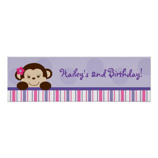 Mod Girl Monkey Baby Shower Banner Sign Poster