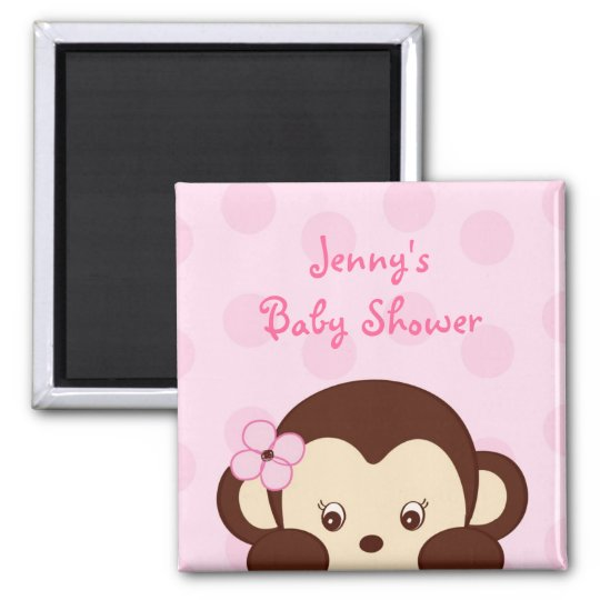 Mod Girl Monkey Baby Shower Favour Magnets