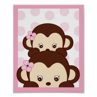 Mod Girl Monkey Dots Nursery Wall Art Print