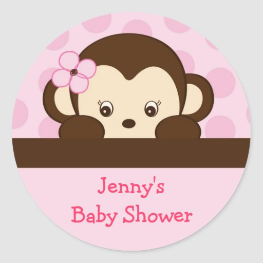 Mod Girl Monkey Envelope Seals Stickers Toppers