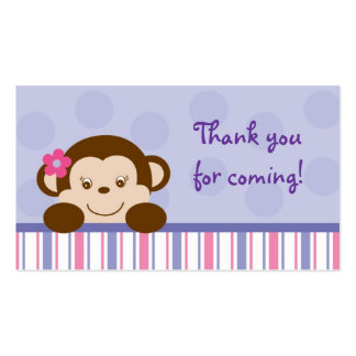Mod Girl Monkey Monkey Party Favour Gift Tags Pack Of Standard Business Cards