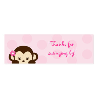 Mod Girl Monkey Party Favor Gift Tags Business Card Template