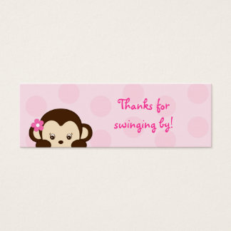 Mod Girl Monkey Party Favor Gift Tags Mini Business Card