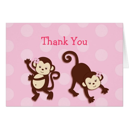 Mod Girl Monkey Personalised Thank You Note Cards