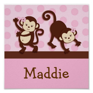 Mod Girl Monkey Personalized Name Art Print