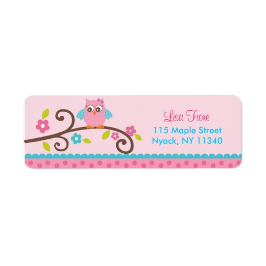 Mod Girl Owl Address Labels
