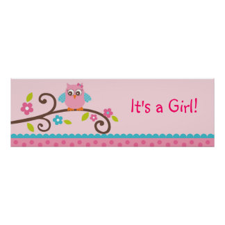 Mod Girl Owl Personalized Banner Sign
