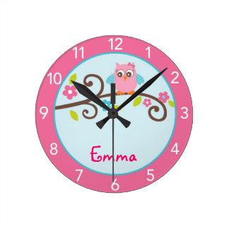 Mod Girl Owl Personalized Nursery Wall Clock