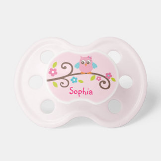 Mod Girl Owl Personalized Pacifier