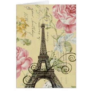 Mod Girly  floral Vintage Paris Eiffel Tower Card