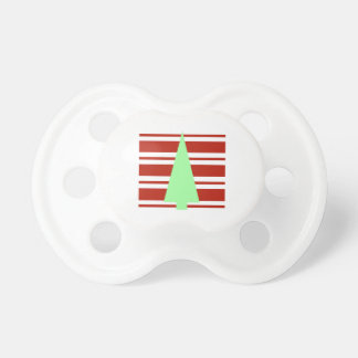 Mod Green and Red Christmas Tree Baby Pacifiers