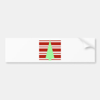 Mod Green and Red Christmas Tree Bumper Stickers