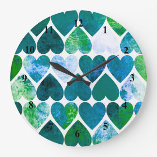 Mod Green & Blue Grungy Hearts Design Wallclocks