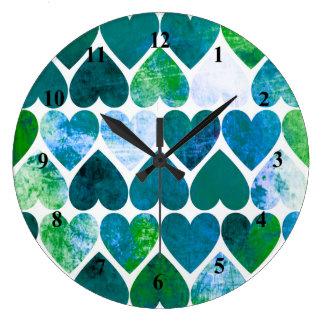 Mod Green & Blue Grungy Hearts Design Wallclocks