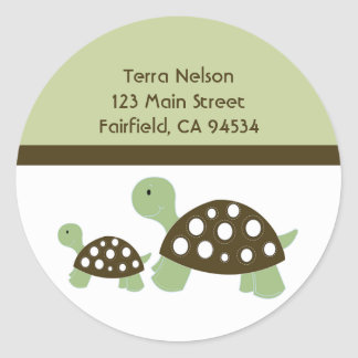 Mod Green Dot Turtles Address Label Sticker