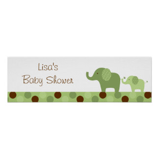 Mod Green Elephant Baby Shower Banner Sign Poster