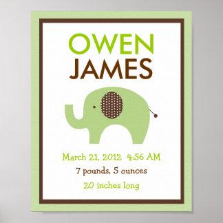Mod Green Elephant Nursery Wall Art Birth Print